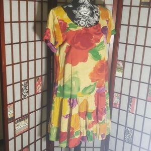Jams world low waist floral short sleeve dress L